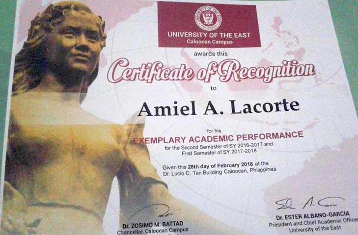 Amiel Lacorte COP Testimony Certificate